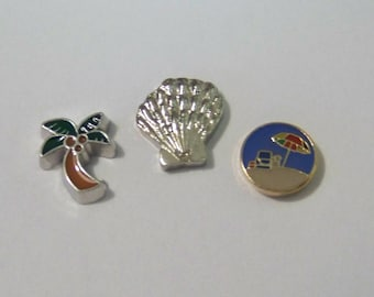 Beach Themed Floating Charms, CHOOSE 1, will fit into any brand of floating charm locket neclaces or bracelets