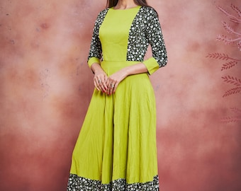 green vintage gown with hand floral print