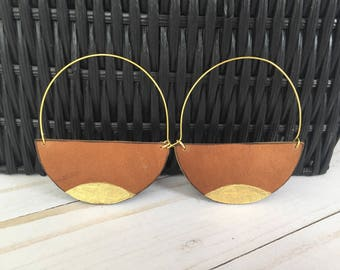 Brown Leather Earrings, Half Circle Earrings, Leather Statement Earrings, Rustic Earrings, Brown and Gold Earrings, Painted Earrings