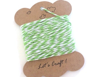 bakers twine - 10 yards cotton twine - gift wrapping twine - crafting twine - striped bakers twine - green and white cotton baker's twine