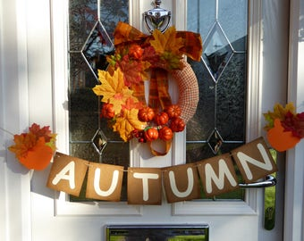 Autumn bunting with pumpkins and leaves, fall home decor rustic sign