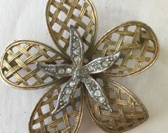 Vintage Flower Brooch Pin by JJ Gold with Rhinestones Costume Jewelry