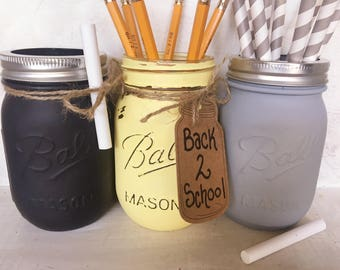 Painted Mason Jar. Back to School Decor. Teacher or Student Gift. Classroom Decor. Fall Vases. Chalkboard Paint Mason Jars. Distressed Jars.