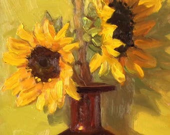 Original Colorful Sunflower Floral Still Life Oil Painting Wall Art