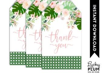 Tropical Favor Tag / Tropical Thank You Tag / Luau Favor Tag / Aloha Favor Tag / Pink Green Favor Tag / Boho Chic Botanical Favor Tag TP01