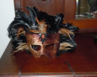 Vintage Large Masquerade Mask with Black & Brown Feathers handmade Florida Keys
