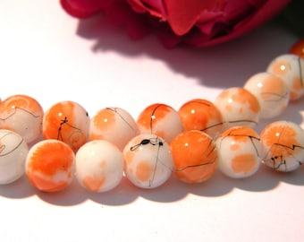 orange glass beads, glass bead round 8 mm glass bead speckled drawbench, 53 Pcs orange glass bead, 6 H114