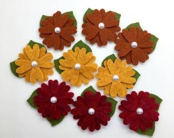 9 pcs Felt Flowers with Leaves, Fall Wool Felt Flowers, Mini Felt Flower Set.