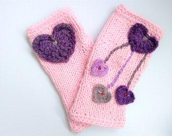 Fingerless Gloves Knit, Gloves with Hearts, Pale Pink Gloves, Cotton Silk Gloves, Birthday Gift, Gift Idea