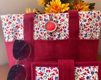 Tote and Wallet (set of 2) tiny flowers