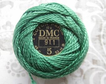 DMC Pearl Cotton Balls Size 5 - 911 Medium Emerald Green