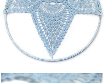 Large Blue Owl Shabby Chic crochet owl nursery decor crochet dreamcatcher owl dream catcher wall hanging wall decor