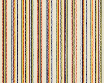 Chiyogami or yuzen paper - wavy, big top stripes in navy, slate blue, red and yellow on ivory, 9x12 inches