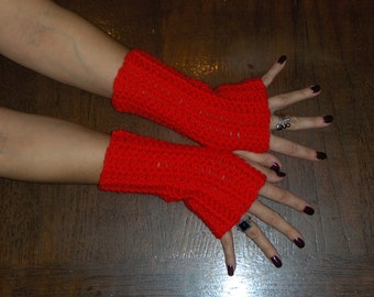 Fingerless Gloves Red Poppies Hand Crocheted Boho  Valentine Red Arm Warmers BOhO Mittens Gloves Wrist Warmers Christmas Red Festive Holiday