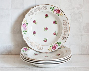 """1 French Soup Bowl """"Luneville"""" Floral Plate - Vintage French Dinner Plates - Floral Decor Shabby Chic"""