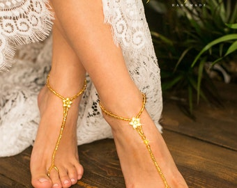 Gold rhinestone Barefoot sandals wedding, Beach wedding crystal footless sandals, Tropical wedding barefoot jewelry, Bride wedding shoes