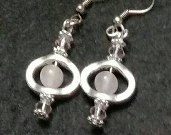 Rose quartz dangle earrings with pink crystal accents