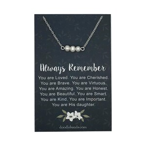 Always remember you are braver, card quote with gold or silver Triple Pearl Necklace, beaded pearl bar necklace, daughter gift jewelry
