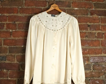 Silk Ivory Top / Hand Embroidered Silk Shirt / Poet Blouse