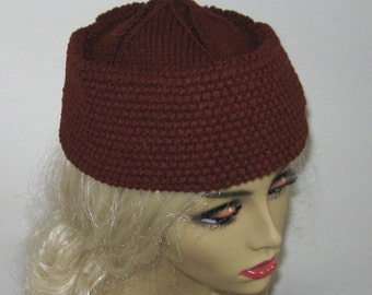 Chocolate Brown hat .  Military style hat .  Crochet Brown Hat . crochet military hat