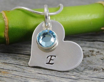 Hand Stamped Jewelry - Personalized Jewelry - Mom Necklace - Sterling Silver Heart Necklace - Inital And Birthstone