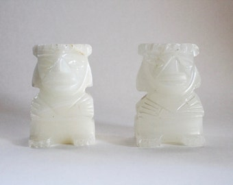 Vintage 1960s Carved Stone Mayan/Aztec Mini Bookends!