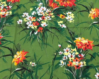 Material Off Cut - green floral design. Date unknown. Size 83cm x 80cm.