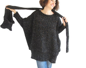 Tweed Black Over Size Sweater with Pocket Scarf by AFRA Sweater - Scarf Set Plus Size