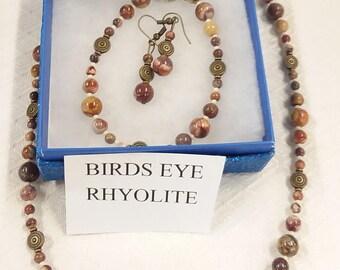 Birds eye rhyolite 3 piece set Necklace, bracelet, and earrings