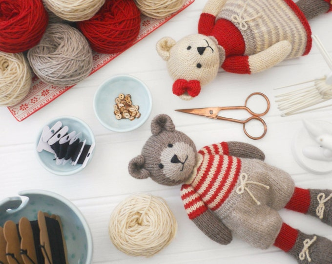 6 Teddy Bear variations/ Girl Bears/ Boy Bears/ Toy Knitting Pattern PDF INSTANT download/ Knitted Bears