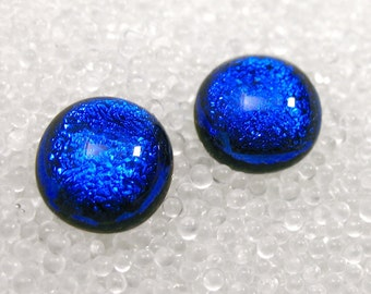 Dichroic Glass Studs in Sparkling Blue Fused Glass Stud / Post Earrings / Nickle Free / Hypoallergenic