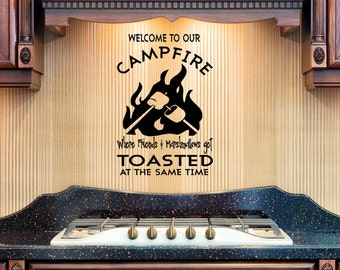 Campfire Vinyl Wall Decal, Welcome To Our Campfire Friends And Marshmallows Get Toasted,  Camper Vinyl Decal, RV decals, sign vinyl, camp