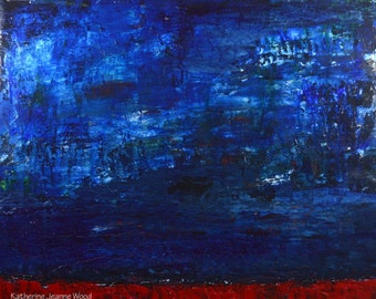 Large Blue & Red Abstract - Acrylic Landscape Painting - 16x20 Mixed Media Collage Art - Wall Art Decor