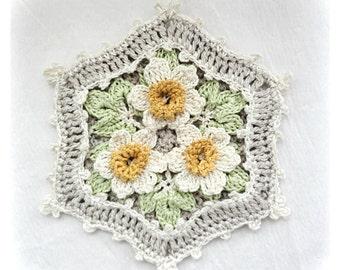 Daffodils Cottage Potholder, Crocheted Potholder, Square Crocheted Potholder, Shabby Chic Decor Potholder.