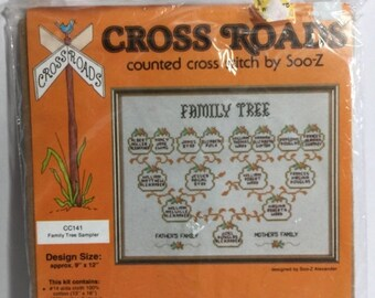 ON SALE Family Tree Sampler, Sooz Cross Roads, Counted Cross Stitch Kit, Needlework Picture, Needlework Kit,Geology Sampler,Geology Needlewo