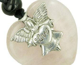 Guardian Spirit Angel Love Heart Amulet Rose Quartz Gemstone Pendant Necklace