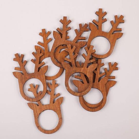 Christmas | Napkin Rings | Reindeer Napkin Rings | Wooden Napkin Rings |  Reindeer | 8 Per Pack | Christmas Table