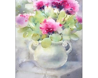 Stonecrops - Original Watercolor Painting 12x16 inches Flowers Mother's Day