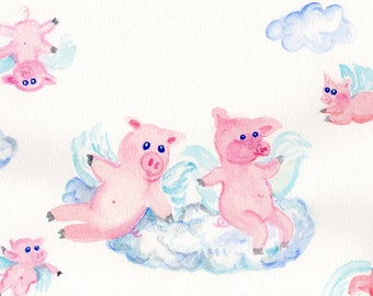 Flying Pigs watercolor painting original - pigs with wings- flying pigs  bouncing on clouds watercolor, whimsical when pigs fly, 7 x 10