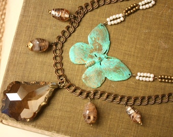 Anthropologie Style Layeyerd Butterfly and Crystal Statement Necklace