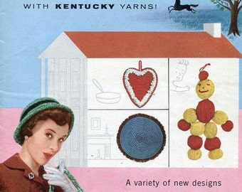 Free Us Ship Vintage Retro 1950's 50's Kentucky Yarn NEEDLEWORK CHARM #4 Crochet Knit Sweater Hat Gloves Doll Stole Beret Rug Modern Century