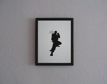 Ryu Street Fighter   Hand cut paper art black silhouette paper cutting