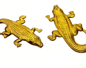 5 Pieces Textured Alligator Stamping, Raw Brass, Large, 50x27mm