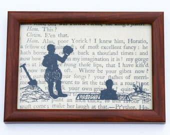 Classic Literature - Shakespeare's Hamlet Silhouette Framed Embroidery Illustration.