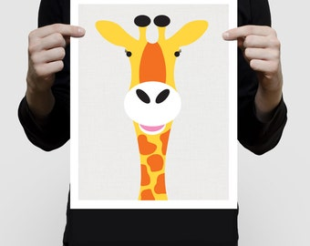 safari nursery art print - giraffe - wild animal, african, childrens wall decor, jungle animals, kids art, baby boy, girl, animal prints