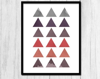 Purple and Gray Triangles Digital Download Geometric Print Art Instant Download Printable Triangle Print Digital Print Minimalist Printable