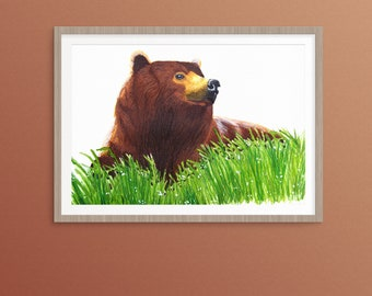 """A Grizzly Bear In The Grass Original Watercolour Painting 12"""" x 16"""""""