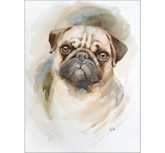 Watercolor Pug Portrait Original Painting 9x12 Inches Dog