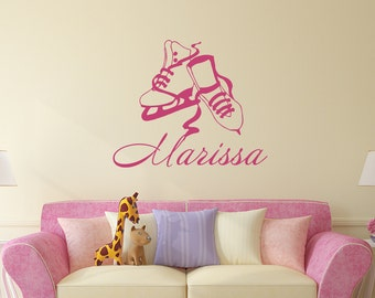 Personalized Name Decals For Girls Room Wall Decals Nursery Decals Skates Vinyl Sticker Home Decor aa197