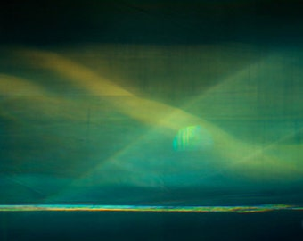 Aurora Moonscape Abstract Landscape sea photo surreal fine art photo blue green abstract giclee canvas landscape